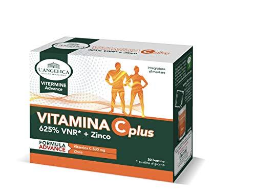 L'Angelica Integratore Vitamina C Plus, Integratore Alimentare a Base di Vitamina C e Zinco senza Lattosio, senza Gluitne, Vegano - Formato: 20 Bustine Effervescenti