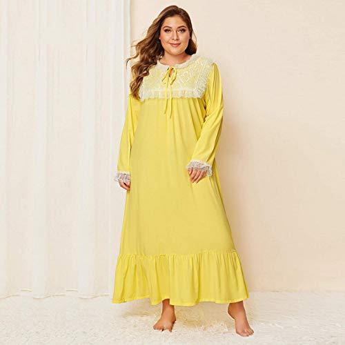 STJDM Bata de Noche,Ropa de Dormir de Mujer Patchwork de Encaje Amarillo Tallas Grandes Homewear Ropa de Dormir de Gran tamaño Vestido Largo Informal Suelto Vestidos de Noche XXXL Amarillo
