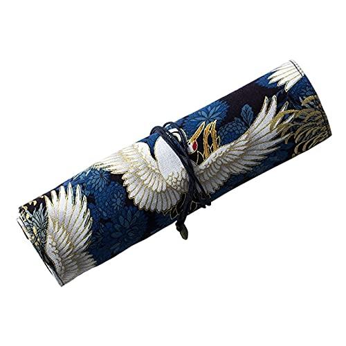 Bolsa de pluma Estilo de lápiz retro de estilo japonés Bronceado de lienzo Bolsa de lienzo, bolígrafo de gran capacidad para estudiantes universitarios adultos Gente de negocios Caja de pluma pencil c