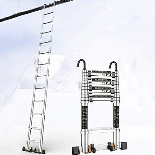 DNSJB Escalera telescópica de aluminio multiusos extensible telescópica escalera plegable portátil escalera de ingeniería con ruedas multiusos plegable para casa loft oficina