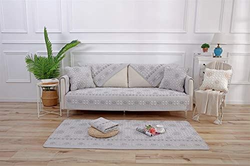 Liveinu Alfombra de felpa con bordado de flores, antideslizante, multiusos, para sofá, sillón, alfombrilla de juego, tatami japonés, para suelo, sofá y cama, 70 x 210 cm, color gris