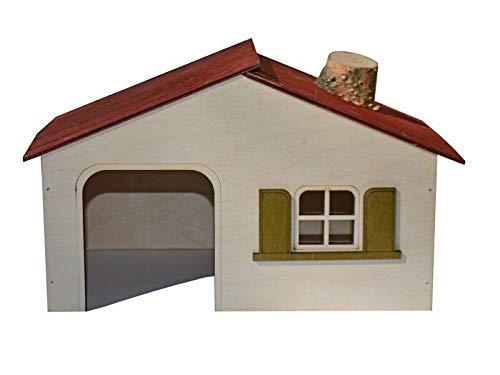 PINOKINO houten huis zadeldak poortboog raam dak voor hamster muizen 270x160x155 mm