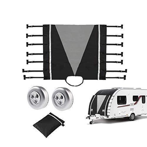 BSTCAR Wohnwagenabdeckung, Caravan Bugschutzplane Caravan Schutzdach Caravan Frontabdeckung mit Led-leuchten Front Towing Cover