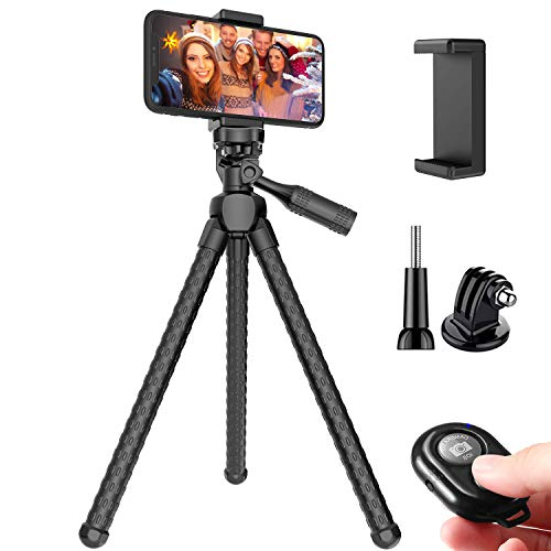 Phone Tripod, Pocut Portable and Adjustable Flexible Tripods Camera Stand Holder with Wireless Remote and Universal Phone Mount for iPhone Android Phone Sports Camera