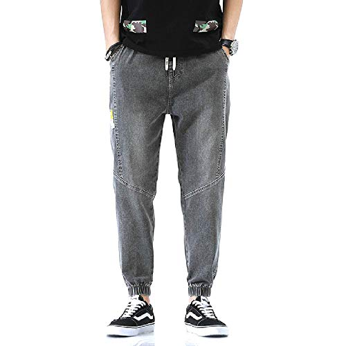 U/A Casual Jeans Men Patchwork Hollow Out Printed Man Demin Pants Gray
