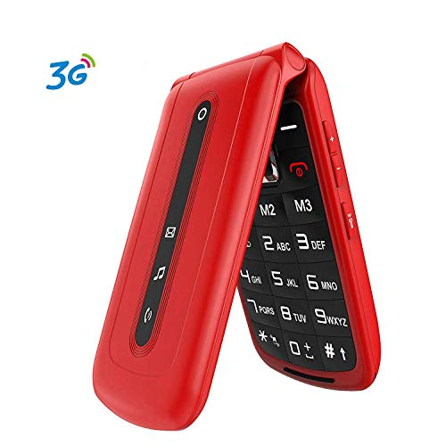 Ushining Teléfono Móvil, Teléfono Móvil para Mayores Teclas Grandes con Tapa Pantalla de 2,4 Pulgadas (Emergencia Botón SOS, 2G + 3G, Dual SIM, Cámara, Bluetooth, Reproductor MP3) - Rojo