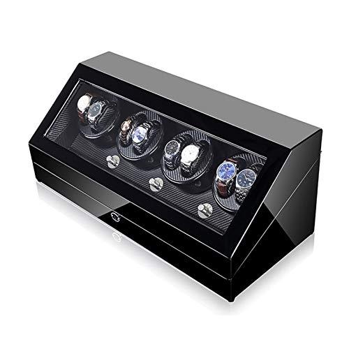 Oksmsa Caja Reloj de Cuerda, 8 + 12 Cajas Reloj Madera Almacenamiento automático 5 Giratorio y Japón Motor cupo la mayoría Reloj mecánico rotación y (Color : Black)