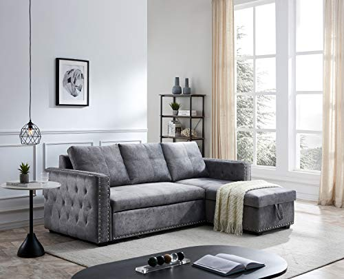 Gray Sectional Sofa with Storage Chaise,JULYFOX Mid Century Modern Reversible L-Shaped Sleeper Sectional Sofa Bed Button Tufted Copper Nail Head Trim 90 inch Wide for Living Room Office