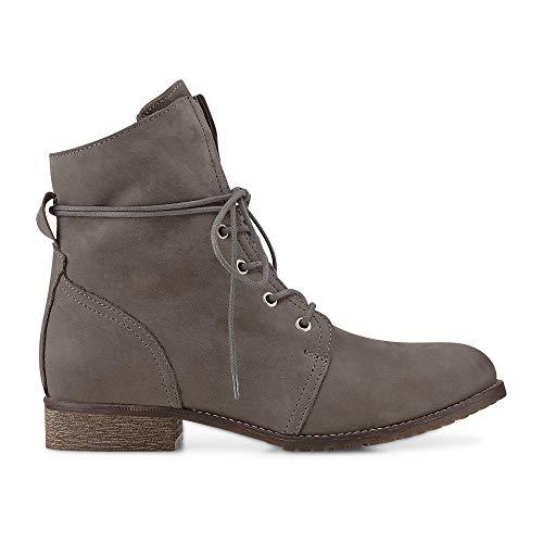 Cox Damen Schnür-Boots aus Leder, Freizeit-Stiefel in Grau mit kuscheligem Warm-Futter Grau Leder 39