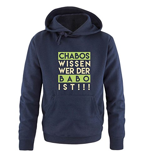 Comedy Shirts - Chabos wissen wer der BABO ist! - Herren Hoodie - Navy/Beige-Hellgrün Gr. L