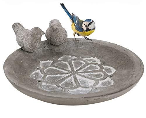 My-goodbuy24 Vogeltränke Futterstelle Garten - für Vögel - Vogelbad Futterschale Vogelbecken aus Zement - rund - mit 2 Deko Vogel-Figuren