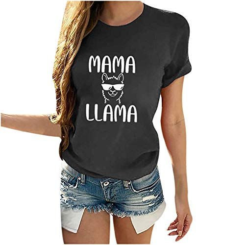 Mom's Gift Mother's Day Tops for Women Letter Print Casual Comfort T Shirts Loose Fit Blouse Ladies Shirt Short Sleeve Round Neck Tee