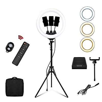 Selfie Ring Light 18 inch/46cm 3200-6500K 110-220V Dimmable LED Ringlight with Tripod Cell Phone for YouTube Camera Photo Wireless Remote Control Lamp Stand TIK Tok Live Stream Portrait Makeup Vlog