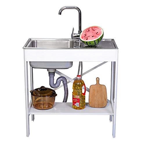 Zlewozmywak kuchenny z platformą, zlewozmywak ze stali nierdzewnej, prosty uchwyt do zlewozmywaka, blat roboczy ze zlewozmywakiem, z akcesoriami, łatwy montaż