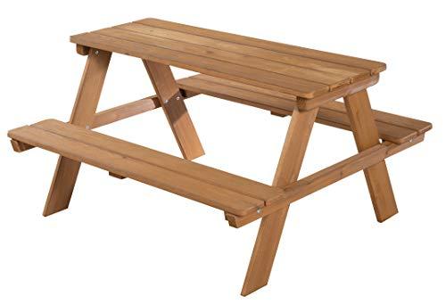 roba Kinder Outdoor + Sitzgruppe 'Picknick for 4', wetterfeste Sitzgarnitur für drinnen und draußen aus Massivholz in Teakholz-Optik, besonders stabil und langlebig