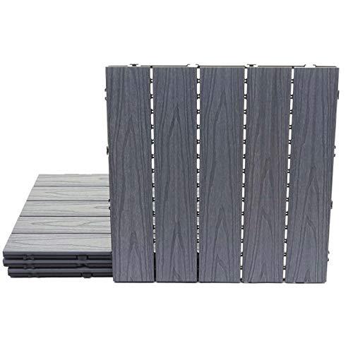 Mendler WPC Bodenfliese HWC-E21, Holzoptik Balkon/Terrasse, 3D-Struktur linear beschichtet-grau ~ 4X je 50x50cm = 1qm