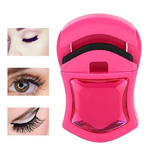Rizador de pestañas y Mini rizador de pestañas, 3 Colores herramientas de maquillaje, sin pellizcos y perfectamente rizado, el mejor kit de elevación de pestañas 3D profesional(Rosa roja)