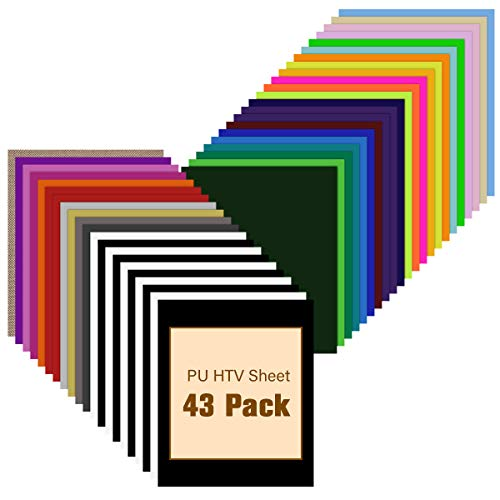 "HTV Heat Transfer Vinyl Bundle - 43 Pack 12"" x 10"" PU Iron on Vinyl for T-Shirt, 32 Assorted Colors HTV Vinyl for Cricut, Silhouette Cameo or Heat Press Machine"