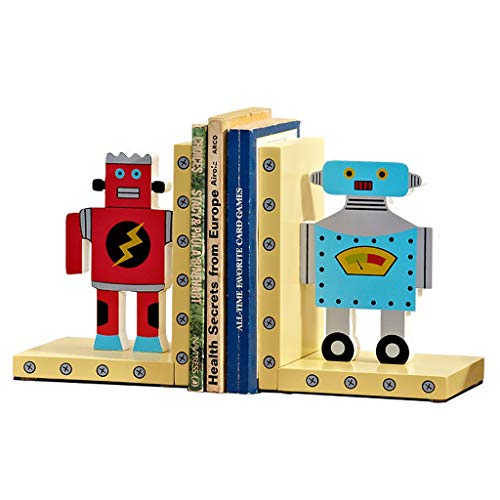 HJHJ sujetalibros creativos Sujetalibros De Robot Tapones De Libros De Dibujos Animados Bonitos Sujetalibros De Madera Ambientales Terminales De Libros Regalo