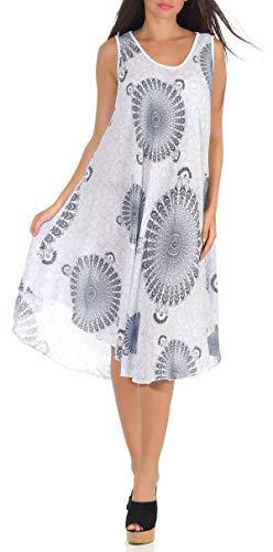 Cleostyle Collection angesagtes Sommerkleid Damenkleid Strandkleid Maxikleid mit Muster ideal für den Sommer 73 (Weiß)