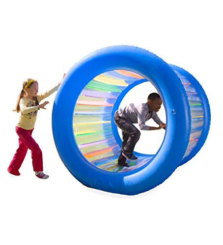 HearthSong Roll With It! Giant Inflatable Colorful Rolling Wheel for Active Outdoor Play, 45″ Diam., Holds up to 200 Lbs.