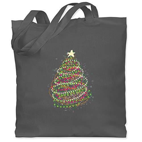 Weihnachten & Silvester - Abstrakter Weihnachtsbaum - Unisize - Dunkelgrau - stoffbeutel - weihnachten - WM101 - Stoffbeutel aus Baumwolle Jutebeutel lange Henkel