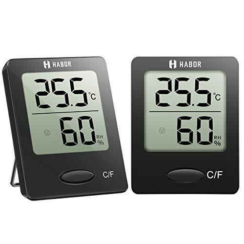 Habor 2 Stück Hygrometer Innen, Digital Thermometer Innen, Tragbares Hydrometer Feuchtigkeit mit Hohen Genauigkeit, Luftfeuchtigkeitsmessgerät Innen, Thermo-Hygrometer für Babyraum, Wohnzimmer, Büro