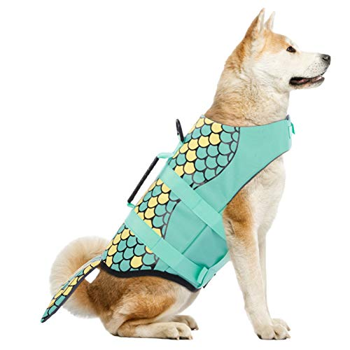 Dog Life Jackets, Ripstop Pet Floatation Life Vest for Small, Middle, Large Size Dogs, Dog Lifesaver Preserver Swimsuit for Water Safety at The Pool, Beach, Boating (Small, Green Mermaid)