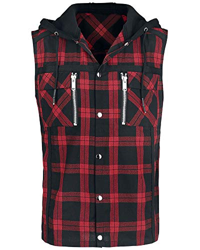Gafeng Mens Sleeveless Flannel Shirts Hooded Plaid Button Down Hip Hop Vest Hoodies with Pockets
