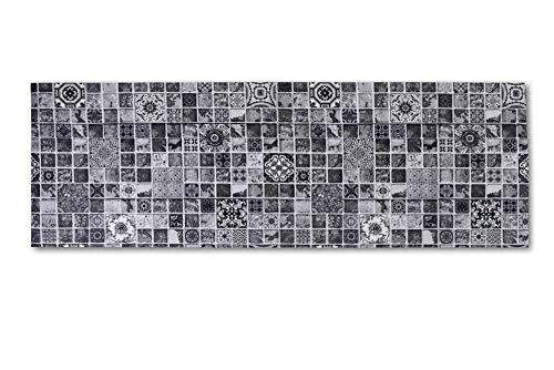 HomeLife Tappeto Cucina Antiscivolo Lavabile in Vinile 52X300 Made in Italy | Passatoia Antimacchia in PVC Interni ed Esterni Stampa Digitale Piastrelle Grigie | Tappeti Runner Lungo in Gomma [300 cm]