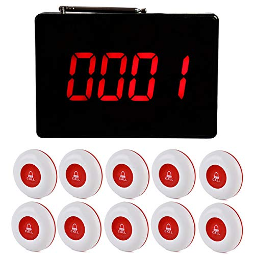 Retekess TD105 Wireless Calling System Restaurant Pager System 10 Call Buttons and 1PC Display Receiver