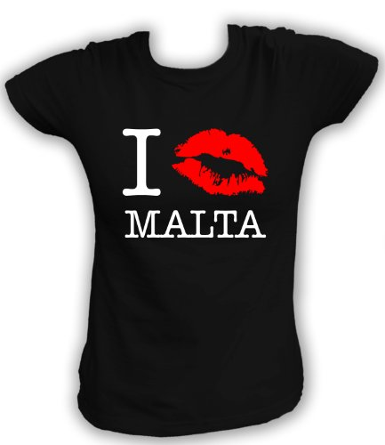 Artdiktat T-Shirt I kiss Malta Damen, Größe XL, schwarz