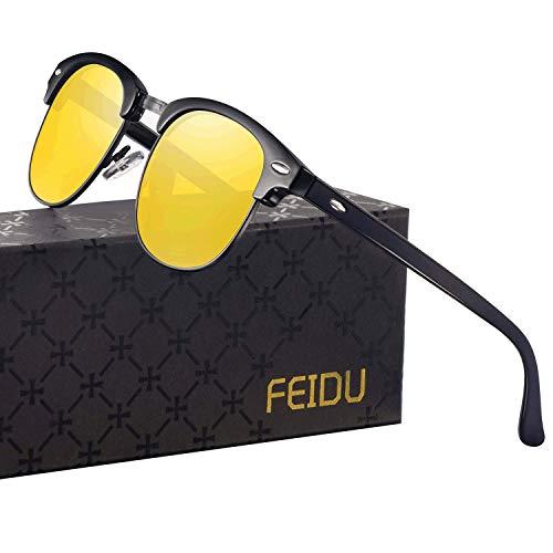FEIDU Retro Polarized Mens Sunglasses for Men Half Metal Women FD3030 (night vision, 2.04)