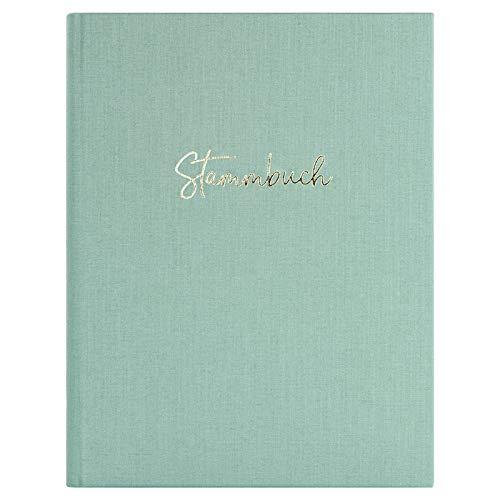 DeinWeddingshop Stammbuch der Familie, Premium Buchbinder-Leinen mit Prägung, Familienstammbuch für Hochzeit, Standesamt | 16x21cm | Mint/Gold