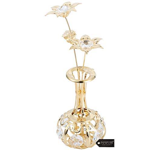 """Presente de Dia das Mães – """"Flores do sol em ornamento de vaso"""" mergulhado em ouro 24K e feito com cristais transparentes deslumbrantes, vem em embalagem de luxo – Ótima ideia de presente para a mãe da filha, filho da Matashi"""