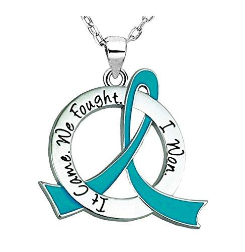 It Came. We Fought. I Won. Survivor Necklace Ovarian Cancer (Teal Ribbon)
