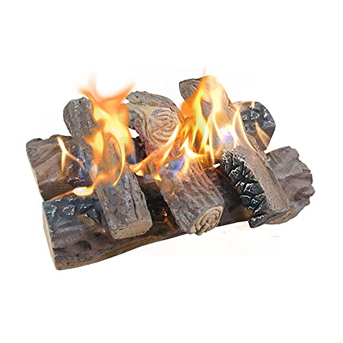Gas Fireplace Logs, Large Ceramic Logs for Gas Fireplace, Artificial...