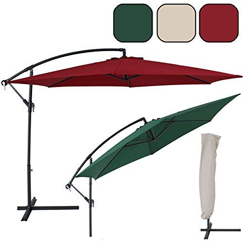 TecTake Ombrellone decentrato giardino parasole alluminio 3,5 m con protezione UV + coperchio de protezione - disponibile in diversi colori -