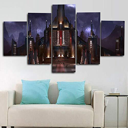 QQWW Cuadro sobre Impresión Lienzo 5 Piezas -Mural Moderno 5 Piezas Paisaje del Castillo Dormitorios Decoración para El Hogar -No Tejido Lienzo Impresión- Modular Poster Mural-Listo para Colgar