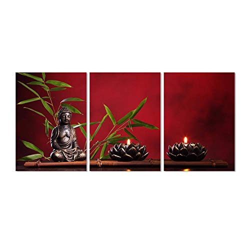 Wall Art Canvas Painting Living Room Wall Art Paintings Modular Pictures 3 Panel Black Buddha and Candle Home Decor Framework Hd Printed Modern Canvas