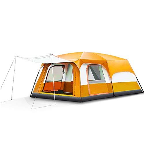 Freetrekker Großes Zelt Familienzelt 8-10 Personen Festivalzelt Luxus Steilwandzelt Hauszelt Kuppelzelt Campingzelt Gruppenzelt Wasserdicht WS 6.000 mm (orange)