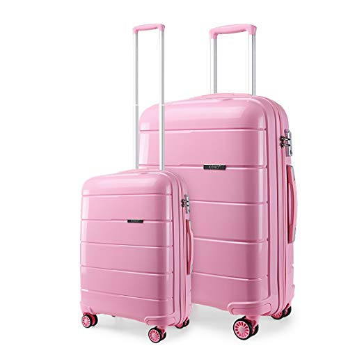 Kono Lightweight Polypropylene 2 Piece Luggage Set 20' Cabin + 28' Check in Spinner Suitcase with TSA Lock and YKK Zipper (Pink)