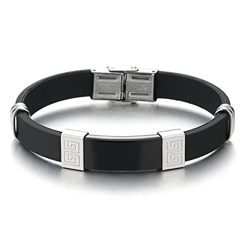 COOLSTEELANDBEYOND Edelstahl Schwarz Silber Griechischen Schlüsselmuster ID Identifizierung Armband Schwarzem Gummi Armreif für Herren