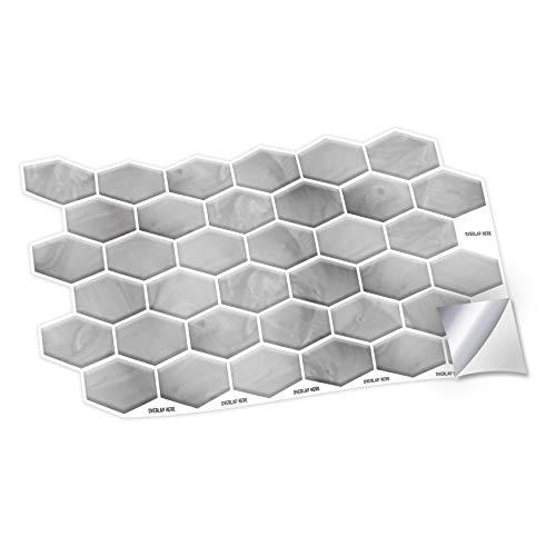 WALPLUS Pegatinas de pared hexagonales de panal, 28,5 x 14 cm, 12 unidades, para azulejos de cocina, baño, transferencia de azulejos