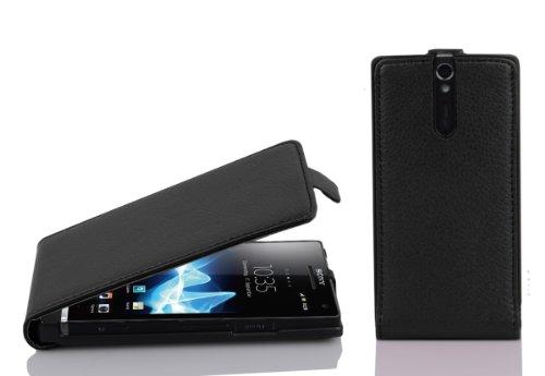 Cadorabo Custodia per Sony Xperia S in NERO PROFONDO - Protezione in Stile Flip di Similpelle Strutturata - Case Cover Wallet Book Etui