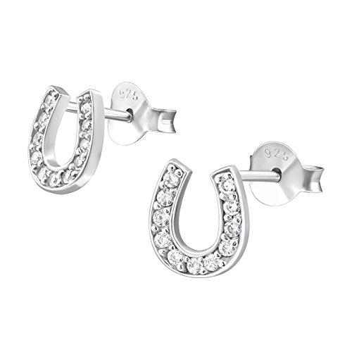 Monkimau Mädchen Ohrringe Hufeisen Glücksbringer Ohrstecker aus 925 Sterling Silver echt Silber mit 22 Kristallen