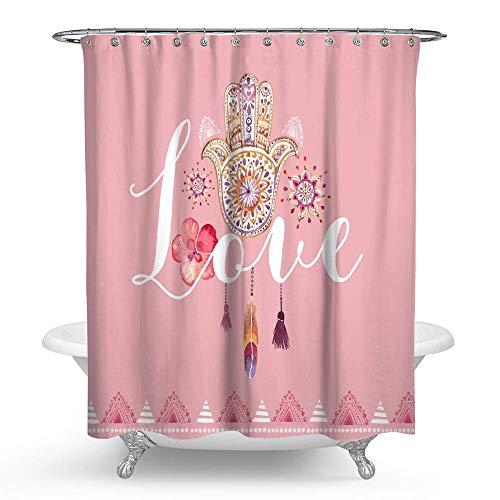 KISY Mandala Paisley Floral Feder Stoff Duschvorhang Hamsa Hand der Fatima Glücks-Symbol Bad Decor beschwerter Duschvorhang für Badewanne Dusche 182,9 x 182,9 cm, Pink