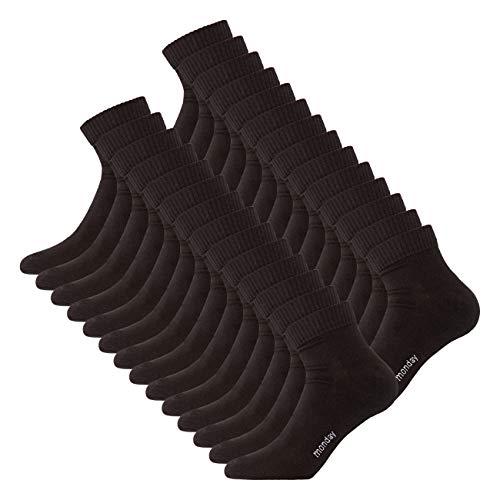 DAILYSOXX Herren Quarter Socken 7er 14er oder 21er Pack Schwarz Kurzschaft Sportsocken Knöchel Baumwolle Gummibund elastisch Sport Jogging, Größe:43-46, Farbe:Schwarz - 14er Pack