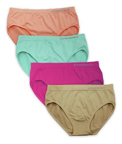 Channo Braguitas niñas Licra Lisas Color Uniforme. Tejido Suave, Ligero y elástico. Modelo sin Costuras. Pack de 4 Bragas