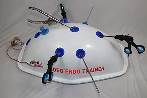 Instrumentos laparoscópicos de la caja de entrenamiento de la práctica del simulador virtual de la laparoscopia fijados 5m m